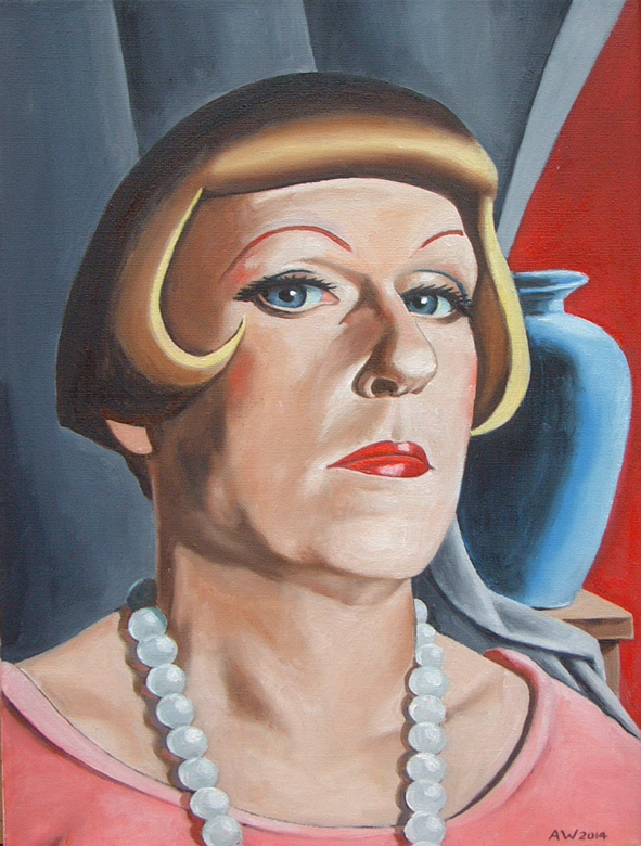 Grayson Perry (in the style of Tamara de Lempicka)