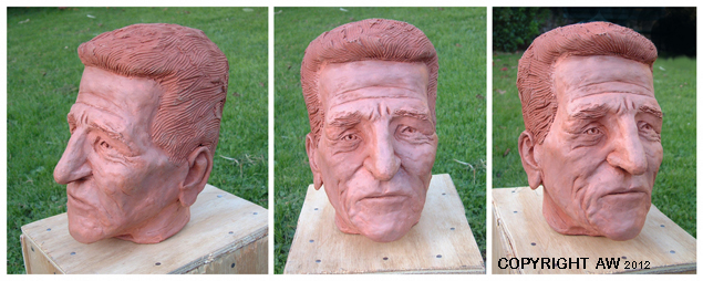 three views of sculpted head portrait, terracotta, approximate life-size, 2012